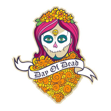 dia de muertos: D�a de la muchacha del cr�neo muerto con cinta marigoldand. Vectores