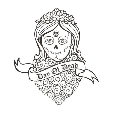 cempasuchil: D�a de la muchacha del cr�neo muerto con la maravilla y la cinta. Vectores