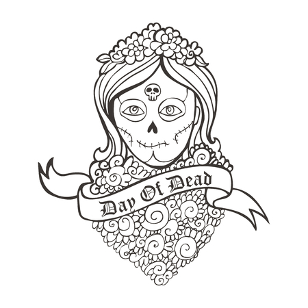 sexy girls: Day of dead skull girl with marigold and ribbon. Illustration