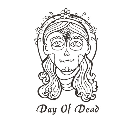 cempasuchil: Day of dead skull girl with marigold in black and white.