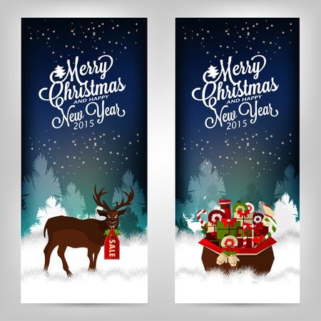 joyeux noel: Joyeux Noel et bonne année. Cartes d'invitation avec des cerfs et des cadeaux.