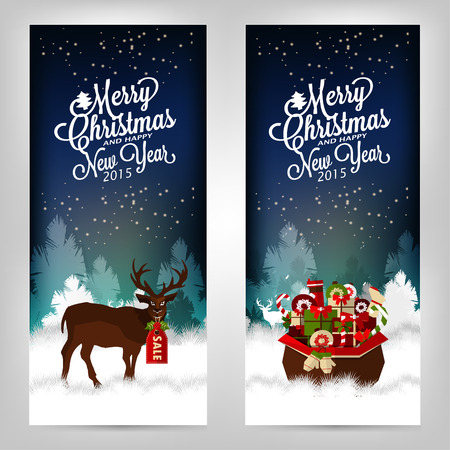 new year party: Merry Christmas and Happy New Year. Invitation cards with deer and gifts.