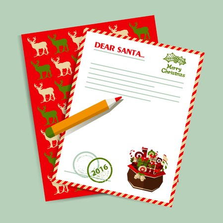 letter from santa: Christmas letter to Santa Claus. Gifts and deers