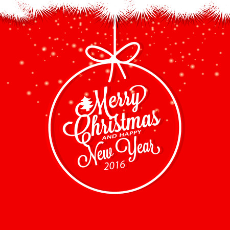 merry christmas text: Merry Christmas and Happy New Year. Christmas ball Illustration