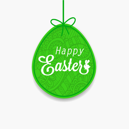 osterei: Happy Easter. Green egg with ribbon and bow for design, cards and invitations. Doodle background