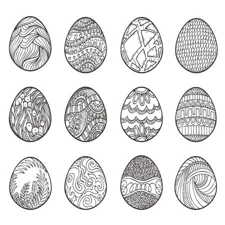 huevos de pascua: Felices Pascuas. Conjunto de diversos huevos para el diseño, tarjetas e invitaciones. Vectores
