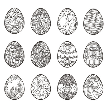 easter eggs: Happy Easter. Set of different eggs for design, cards and invitations. Illustration
