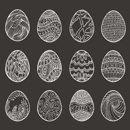 dozen: Happy Easter. Set of different eggs for design, cards and invitations. Illustration