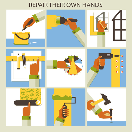remodeling: Home remodeling.  Set of 9 repair collections. Illustration