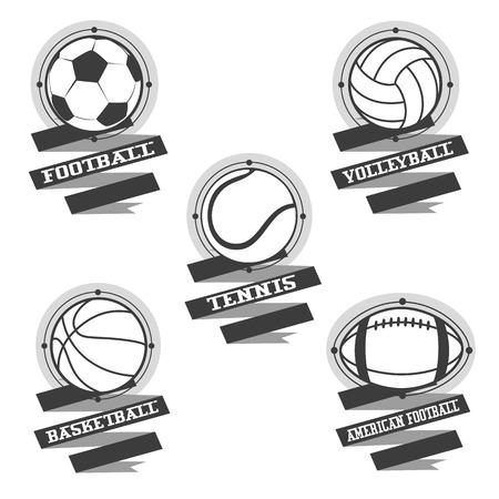 sports balls: Sports balls and emblem with ribbon