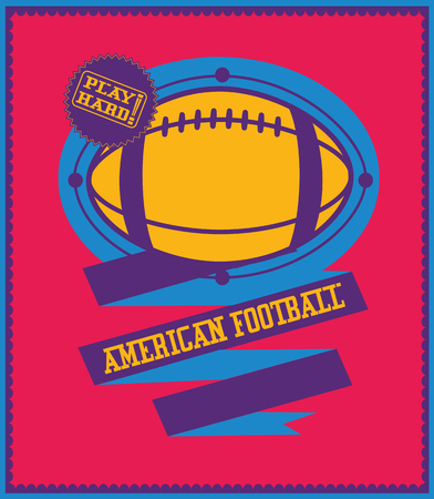 american sport: Colorful american football emblem with ribbon. Sport poster. Illustration