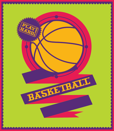 basketball ball on fire: Colorful basketball emblem with ribbon. Sport poster.