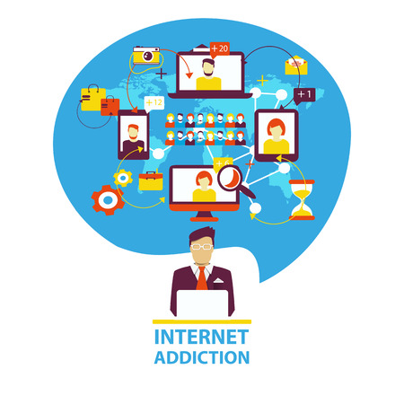 cellphone in hand: Internet addiction. Group of people use smartphone, notebook and tablet everyday for chatting, purchase and work. Illustration