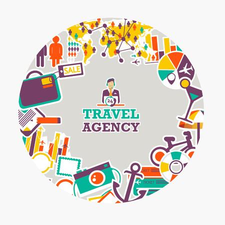 emblema redondo de la agencia de viajes. Viajando por todas partes y en cualquier momento. Ilustración de vector