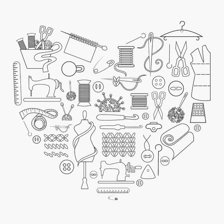 kit de costura: Equipo de costura y de la costura de conjunto de iconos