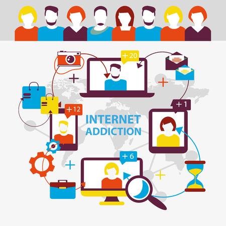 social networking: Internet addiction. Group of people use smartphone, notebook and tablet everyday for chatting, purchase and work. Illustration