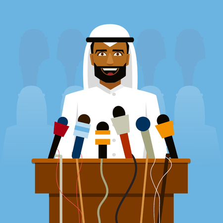 reporters: Arab politician speaking before reporters and microphones on a blue background.