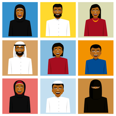 traditional clothing: Set of arabic family icon in traditional clothing. Father, mother and children