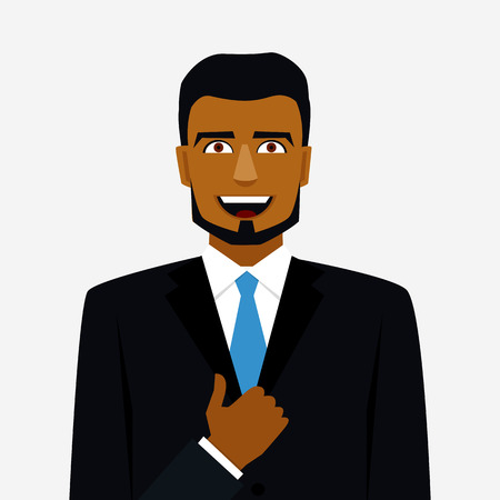 united arab emirate: Icon with smiling arab man in suit and thumb up Illustration