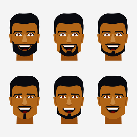 whisker characters: Smiling arab man head icons with beards and mustaches. Illustration