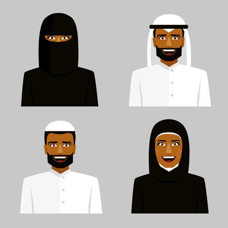 burqa: Arab people. Man and woman in hijab. Traditional arabic clothing.