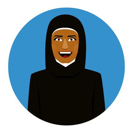 pakistani ethnicity: Blue Round icon of smiling muslim girl in hijab.