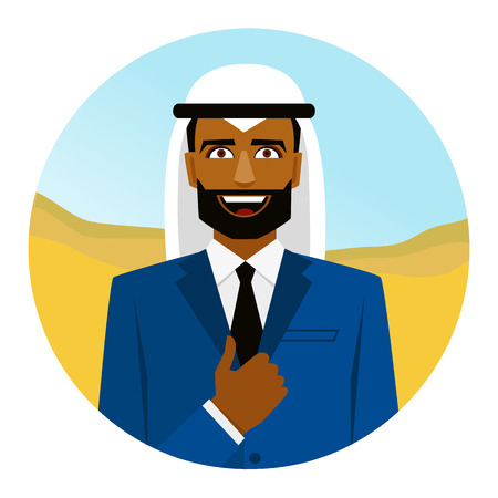 united arab emirate: Round icon with smiling arab man in suit and thumb up.