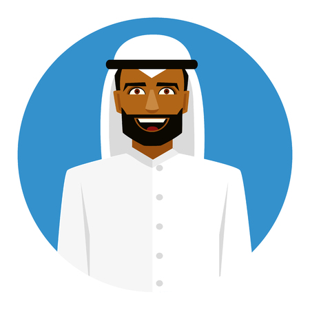united arab emirate: Blue icon with smiling arab man in traditional muslim hat. Illustration