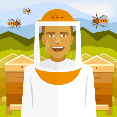 apiculture: Male smiling beekeeper on apiary with bees and beehives.
