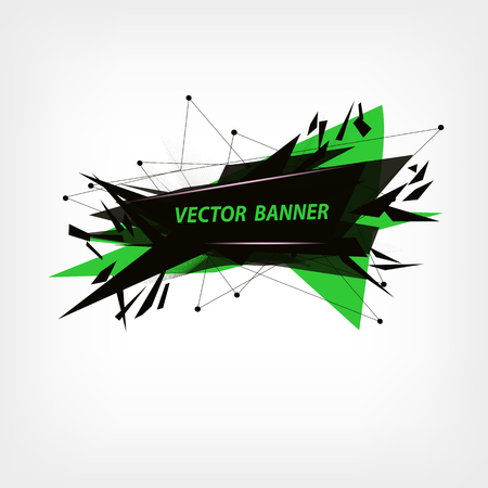 dubstep: Green and black abstract polygonal geometric Illustration