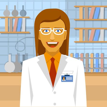 biochemist: Female biochemist in laboratory background.  Laboratory concept