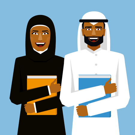 gcc: Arab couple. Smiling arab students. Woman and man with books.