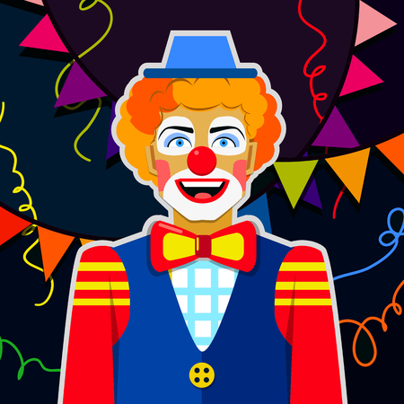 noses: Funny clown with hat and colorful ribbons. Illustration