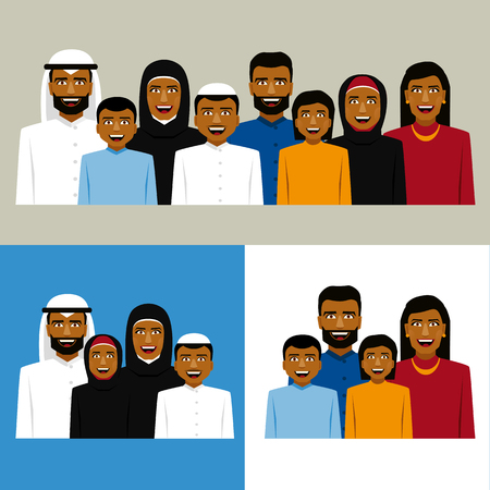 mother and son: Round icon of smiling arab family. Father, mother, son and daughter. Illustration