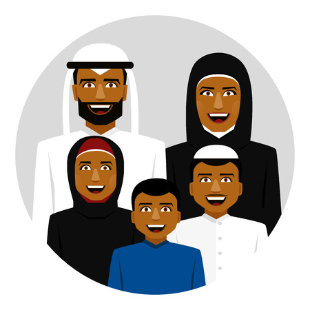 Round icon of smiling arab family. Father, mother, son and daughter. Çizim