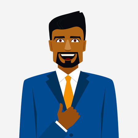 Icon with smiling arab man in suit and thumb up Çizim