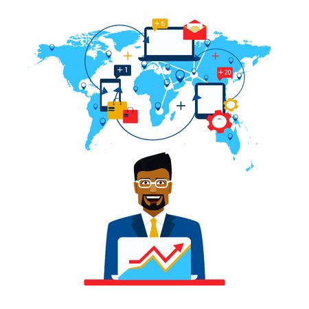 Arab businessman and international cooperation. Freelance and communication. Çizim