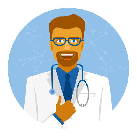 Round  icon smiling doctor in suit with thumb up. Çizim