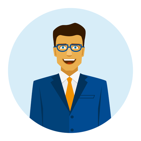 Blue icon with smiling businessman in suit. Çizim