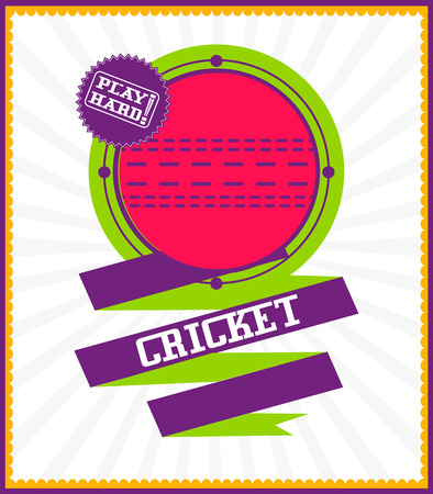 criket: Sports games. Sport ball. Colorful Cricket poster Illustration