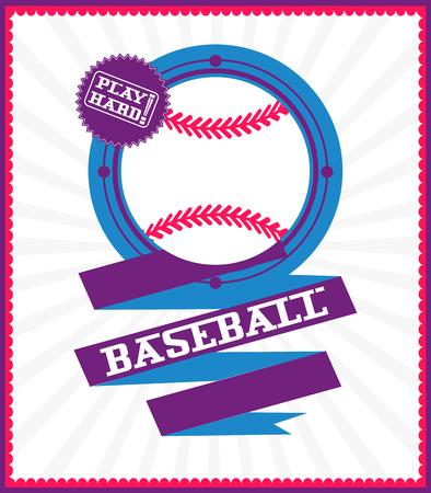 Sports games. Sport ball. Colorful Baseball poster Çizim