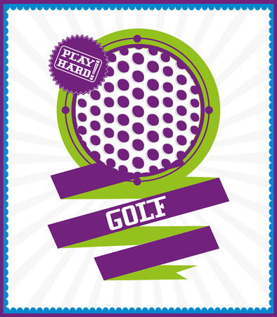 Sports games. Sport ball. Colorful golf poster Çizim