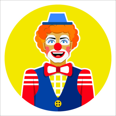 Round emblem smiling funny clown with hat Çizim