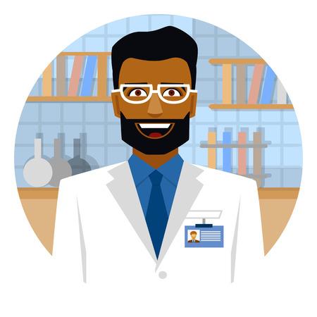 Smiling arab scientist in laboratory on emblem.