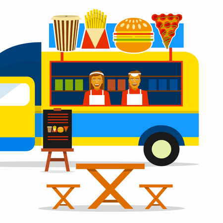 seating: Food truck festival. Street food truck with sellers and seating areas.