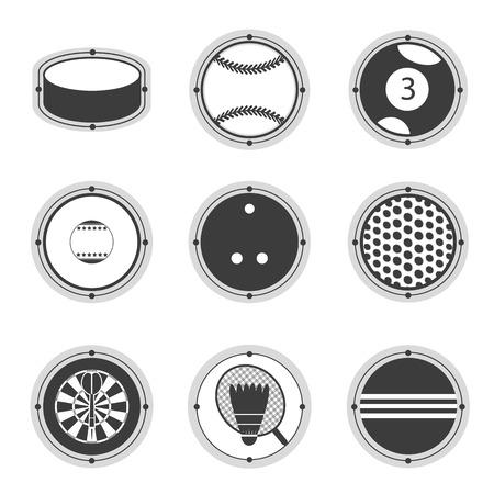 Sports Balls. Hockey, tennis, billiards, bowling, golf darts cricket badminton