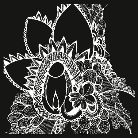 Hand drawn flowers. Doodling. Black and white elements
