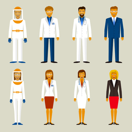 researcher: Set of profession. Beekeepers, bussinesman scientists and doctors Illustration