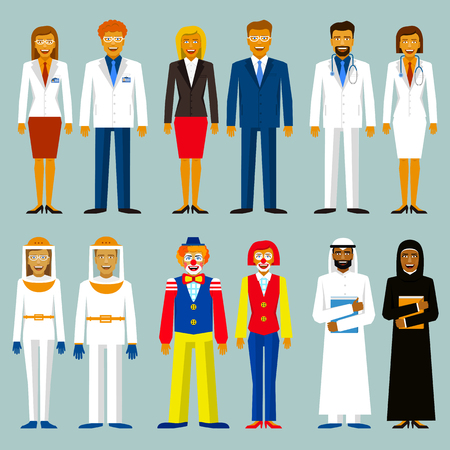 bussinesman: Set of profession. People couple. Beekeepers, bussinesman, scientists, doctors, circus people arab men and women Illustration