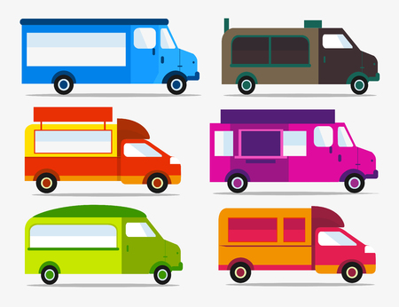 Set of Food Trucks icons. Colorful cars for festival. Çizim